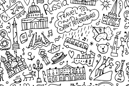 Travel to Saint Petersburg, seamless pattern for your design