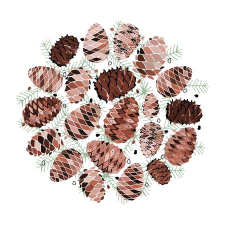 Cedar cone background, sketch for your design
