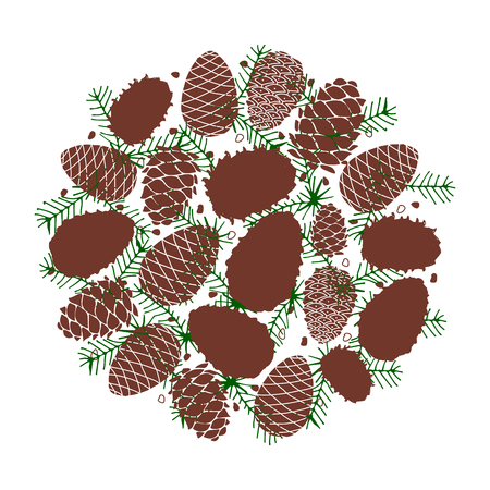 Cedar cone background, sketch for your design