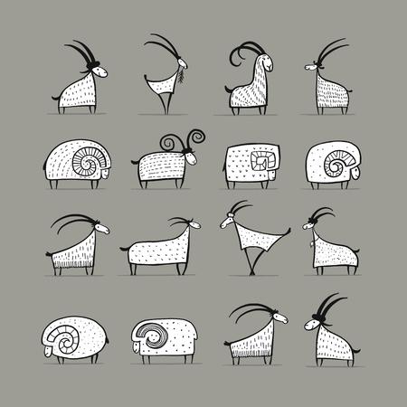 Colección de cabras y carneros para su diseño