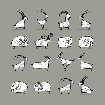 Kolekcja kóz i baranów do projektowania