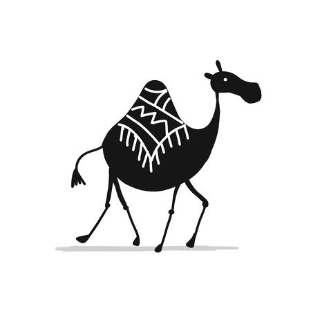 Camel black silhouette, sketch for your design. Vector illustration 일러스트
