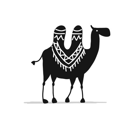 Camel black silhouette, sketch for your design. Vector illustration 스톡 콘텐츠 - 103582989