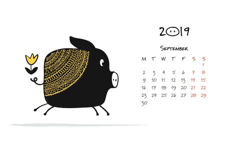 Simpatico salvadanaio silhouette, simbolo dell'anno 2019 per il tuo design Archivio Fotografico - 103595574