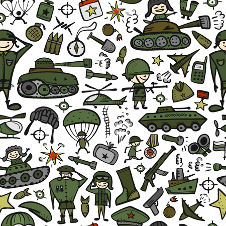 Military sketch, seamless pattern for your design Ilustração