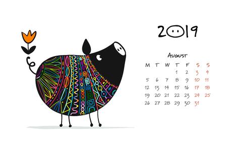 Śliczna świnka sylwetka, symbol 2019 roku do projektowania Ilustracje wektorowe
