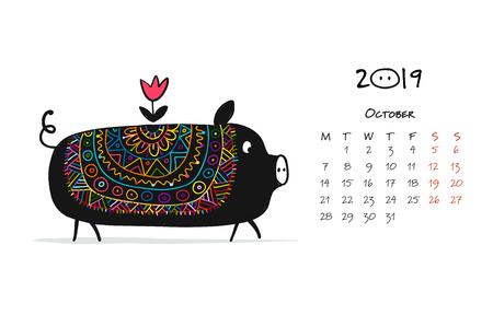 Cute piggy silhouette, symbol of 2019 year for your design Standard-Bild - 104240895