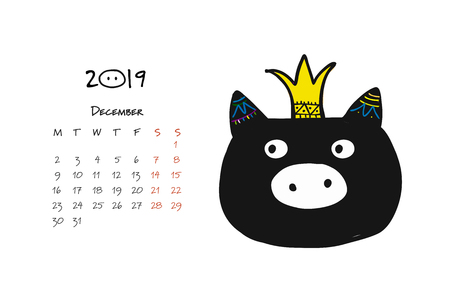 Cute piggy silhouette, symbol of 2019 year for your design Фото со стока - 104240890