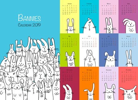 Funny rabbits. Design calendar 2019. Vector illustration