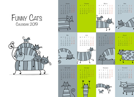 Funny striped cats. Design calendar 2018 Vector illustration Illustration