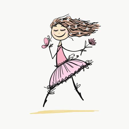 Cute little fairy, sketch for your design Archivio Fotografico - 104240922