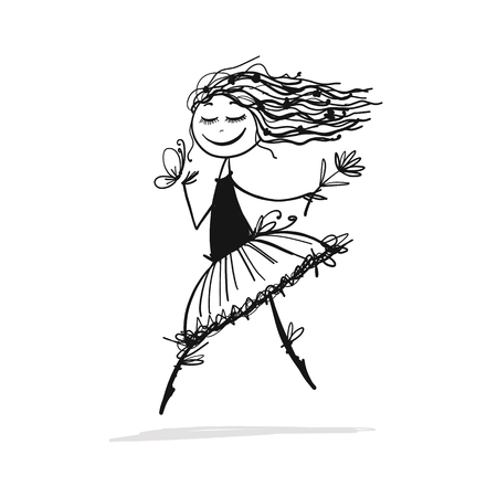 Cute little fairy, sketch for your design Ilustrace