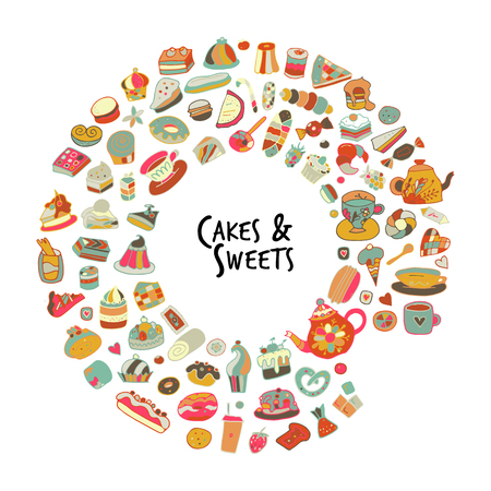 Cakes and sweets collection, sketch for your design. Vector illustration