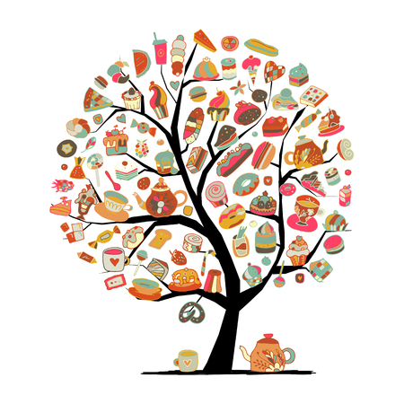 Cakes and sweets, art tree for your design. Vector illustration Illustration