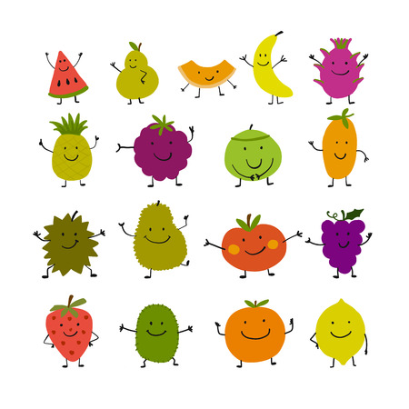 Funny fruits, character set for your design. Vector illustration