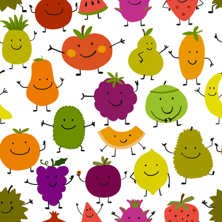 Funny fruits, seamless pattern for your design Standard-Bild - 104312071