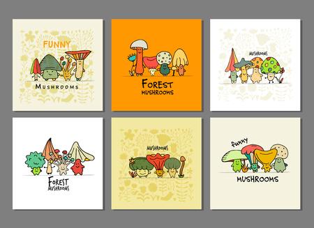 Funny mushrooms frame, banner set for your design. Vector illustration