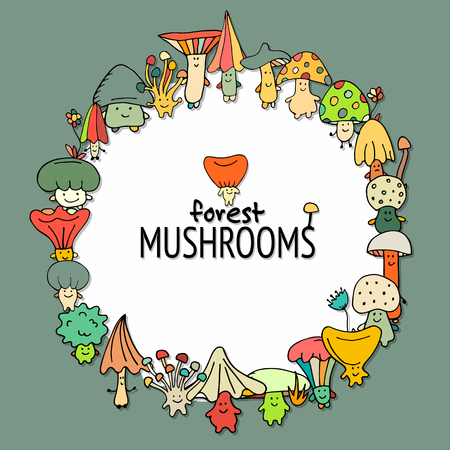 Funny mushrooms frame, sketch for your design. Vector illustration