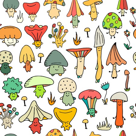 Smiling mushrooms, seamless pattern for your design. Vector illustration Illustration
