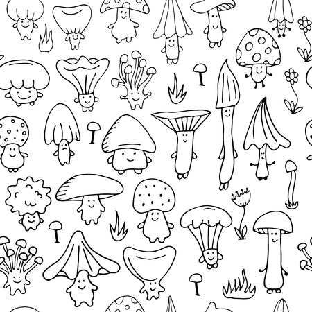 Smiling mushrooms, seamless pattern for your design. Vector illustration 일러스트