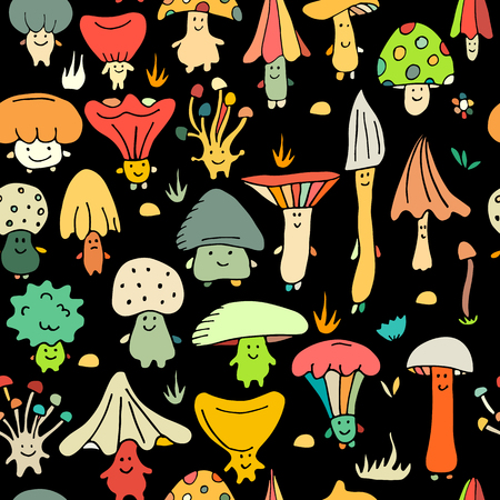 Smiling mushrooms, seamless pattern for your design. Vector illustration Ilustração