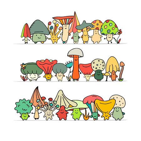 Smiling mushrooms, sketch for your design. Vector illustration