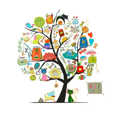 Negozio di animali, albero d'arte per il tuo design