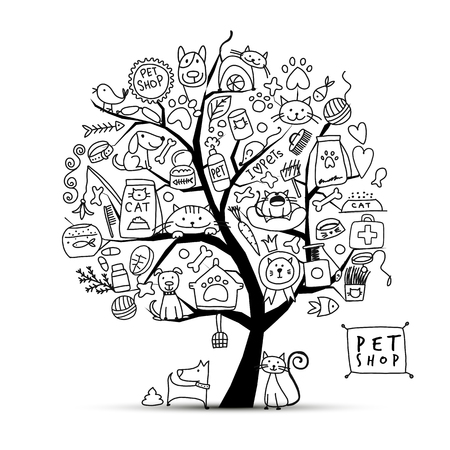Pet shop, art tree for your design Banque d'images - 104312075