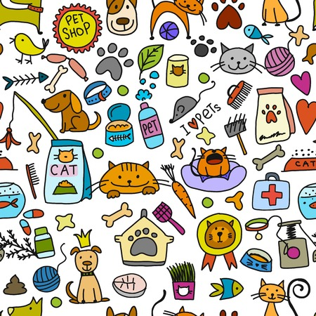 Pet shop background for your design. Vector illustration
