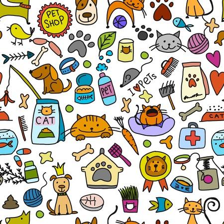 Fondo de tienda de mascotas para su diseño. Ilustración vectorial