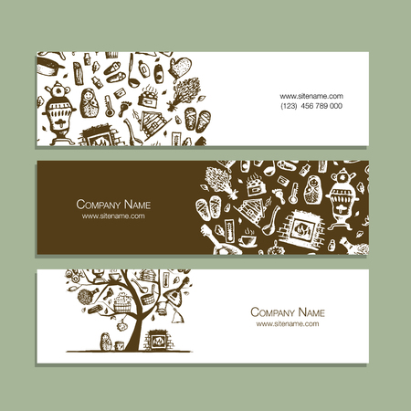 Business cards with bathhouse design elements