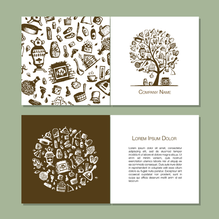 Greeting cards with bathhouse design elements