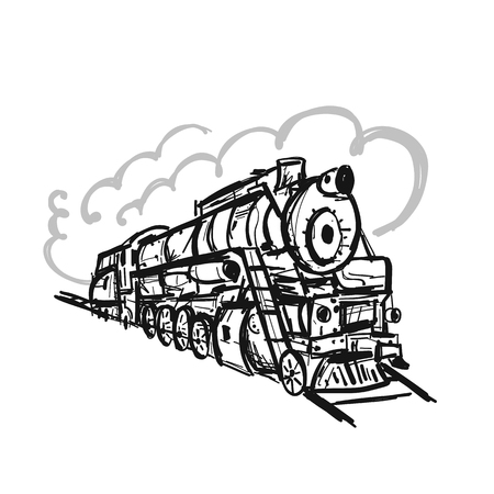 Retro train, sketch for your design. Vector illustration Ilustração