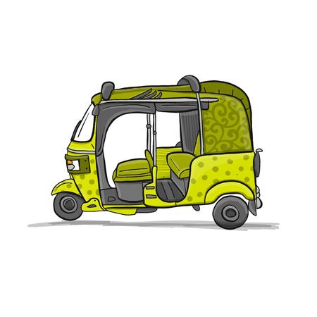 Tuktuk, moto taxi asiatique. Esquisse pour votre conception. Illustration vectorielle Vecteurs