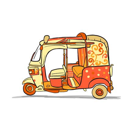 Tuktuk, moto taxi asiatique. Esquisse pour votre conception. Illustration vectorielle