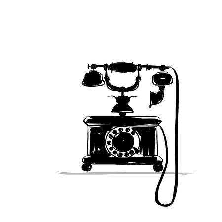 Retro phone silhouette, sketch for your design