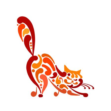 Big graceful cat. Vector illustration