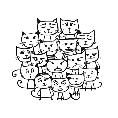 Cats family, sketch for your design. Vector illustration Illustration