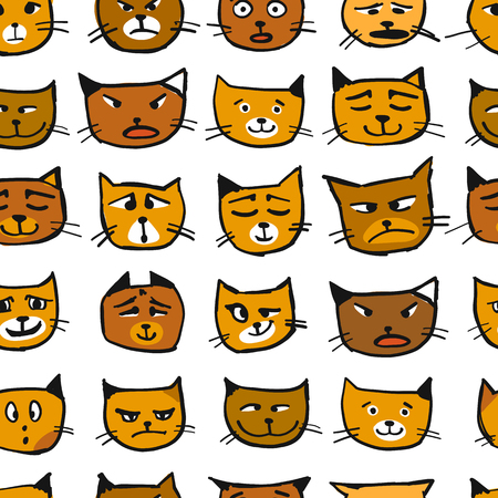 Cat faces, seamless pattern for your design. Vector illustration