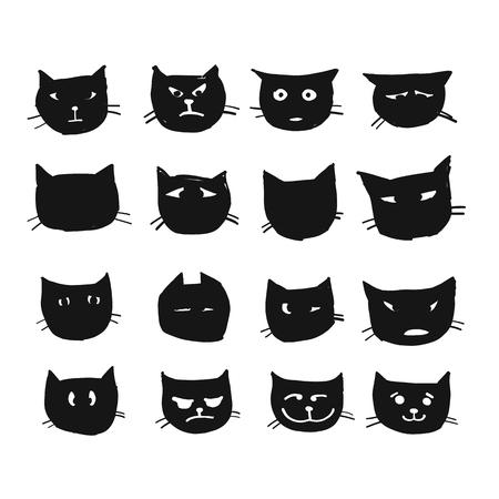 Cat faces, sketch for your design. Vector illustration