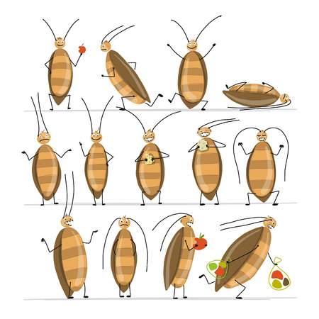 Funny cockroaches set for your design