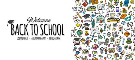 Torna a scuola, sfondo per il tuo design. Illustrazione vettoriale Vettoriali