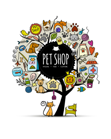 Pet shop, art tree design with place for your text Archivio Fotografico - 104492590