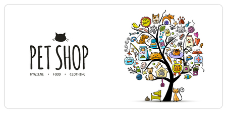 Pet shop banner, art tree design with place for your text