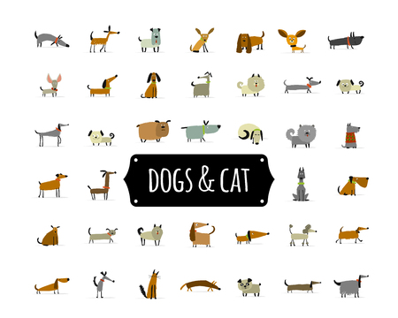 Cute dogs collection for your design Stock Illustratie
