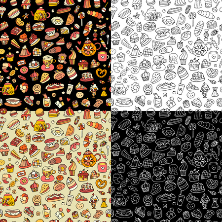 Cakes and sweets, seamless pattern for your design. Vector illustration Illustration