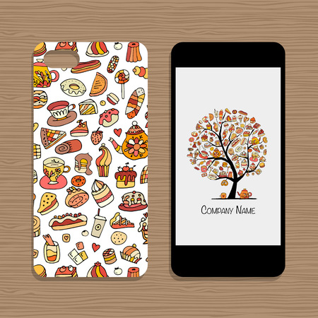 Mobile phone cover, design idea for sweets shop company