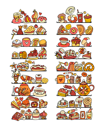 Shelves with cakes and sweets collection, sketch for your design. Vector illustration