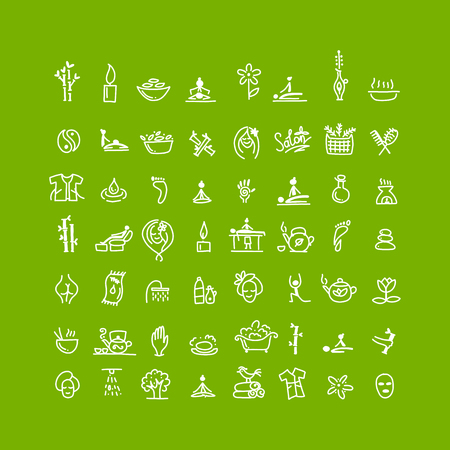 Massage and spa, icons set for your design 矢量图像