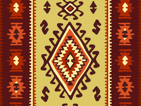 Oriental mosaic rug with traditional folk geometric ornamen. Seamless pattern. Vector illustration Çizim